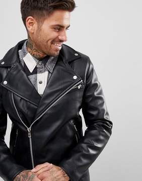 Pull&Bear Faux Leather Biker Jacket In Black