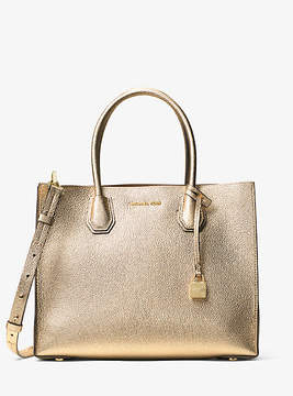 Michael Kors Mercer Large Metallic Leather Tote - GOLD - STYLE