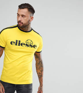 Ellesse Ringer T-Shirt With Striped Sleeve In Yellow
