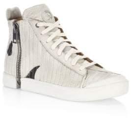 Diesel Side-Zip Leather Sneakers