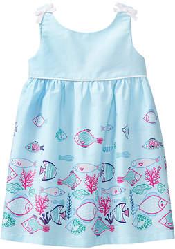 Gymboree Blue Fish Border A-Line Dress & Diaper Cover - Newborn & Infant