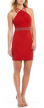 B. Darlin Multi-Strap Y-Neck Sheath Dress