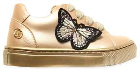 Miss Blumarine Embellished Faux Leather Sneakers