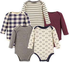 Hudson Baby Gray & Navy Football Long-Sleeve Bodysuit Set - Newborn & Infant