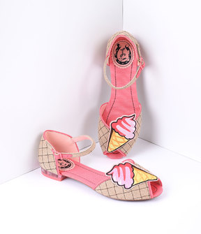 Unique Vintage Retro Style Pink & Woven Hemp Gelato Flats Shoes