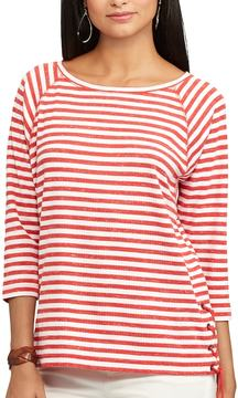 Chaps Women's Striped Lace-Up Pullover