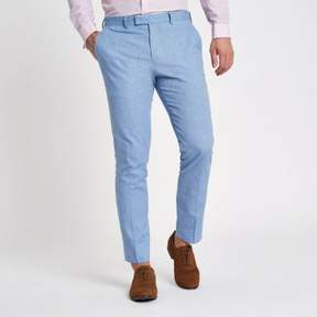 River Island Mens Light blue skinny suit pants with linen