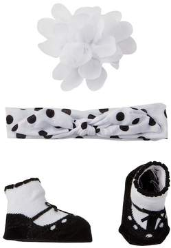 Little Me Knot Pompom Headband, Floral Clip, & Booties Set (Baby Girls)