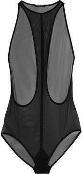 Ann Demeulemeester Racer-back Stretch-tulle Bodysuit - Black