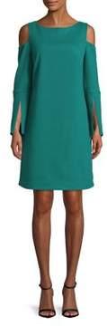 Isaac Mizrahi IMNYC Bateau Neck Cold Shoulder Slit Sleeve Shift Dress