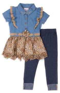 Little Lass Little Girl's Chambray Top and Leggings Set