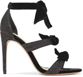 Alexandre Birman Mary Bow-embellished Lurex And Velvet Sandals - Black