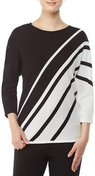 Allison Daley 3/4 Dolman Sleeve Stripe Pullover
