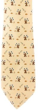 Hermes Silk Rabbit Print Tie