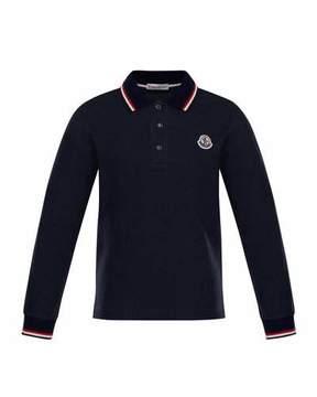 Moncler Long-Sleeve Logo Polo, Size 8-14