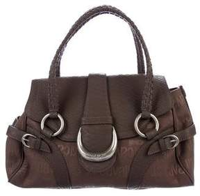 Just Cavalli Leather-Trimmed Canvas Handle Bag