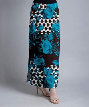 Lily Blue & Black Floral Geometric Maxi Skirt - Women & Plus