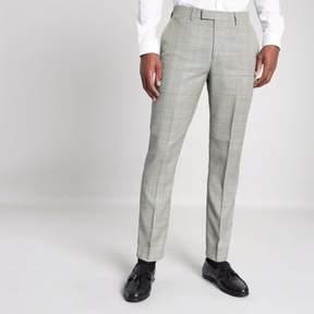River Island Mens Grey check slim fit suit pants
