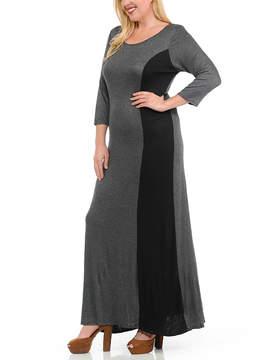 Celeste Charcoal Color Block Maxi Dress - Plus
