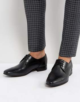 H By Hudson Erato Leather Brogue Shoes In Black