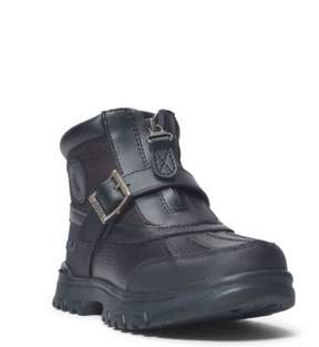 Ralph Lauren Colbey Leather Zip-Up Boot Black Tumbled/Black Nylon 10.5
