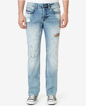 Buffalo David Bitton Men's Six-x Straight Fit Stretch Ripped Jeans