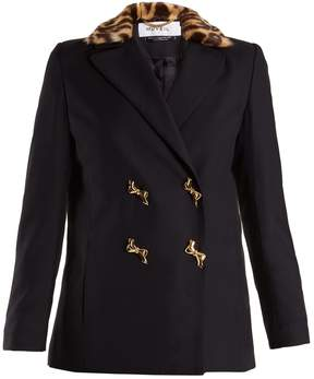 Muveil Double-breasted leopard-print collar woven jacket