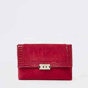 River Island Dark red lock front clutch bag