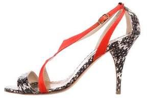 Oscar de la Renta Snakeskin Colorblock Sandals