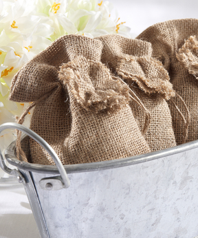 Drawstring Burlap Favor Bag - Set of 12