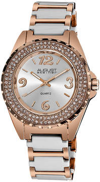 August Steiner Womens Two Tone Strap Watch-As-8036wtr