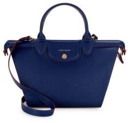 Longchamp Le Pliage Leather Top Handle Bag - BLUE - STYLE