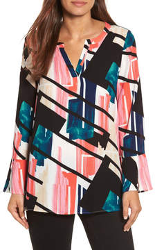 Chaus Bell Sleeve Abstract Print Blouse