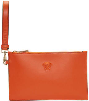 Versace Orange Medusa Zip Pouch