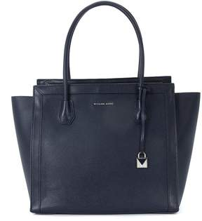 Michael Kors Mercer Studio Dark Blue Leather Shoulder Bag