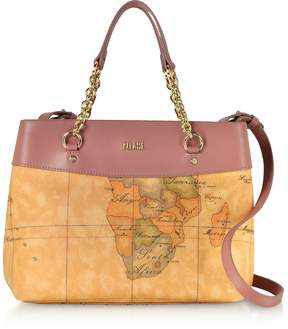 Alviero Martini The Goldie Geo Printed Coated Canvas Shoulder Bag
