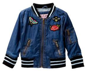 Urban Republic Chambray Varsity Jacket (Baby Girls)