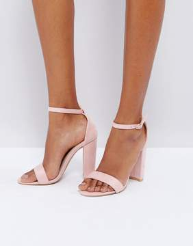Glamorous Blush Barely There Block Heeled Sandals