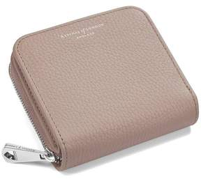 Aspinal of London Mini Continental Zipped Coin Purse In Soft Taupe Pebble