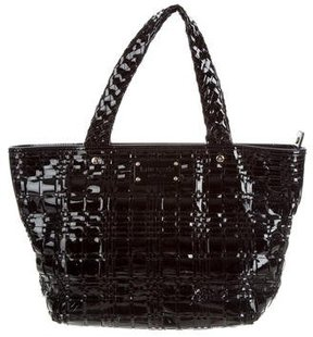 Kate Spade Woven Patent Leather Tote - BLACK - STYLE