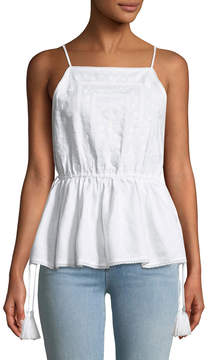 philosophy Square-Neck Embroidered Babydoll Tank