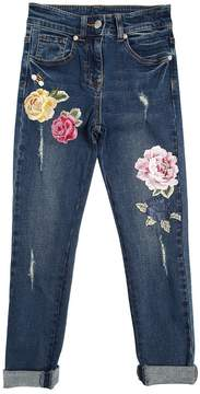 MonnaLisa Skinny Embroidered Stretch Denim Jeans