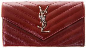 Saint Laurent Large Monogram Grain De Poudre Leather Wallet - PALISSANDRE - STYLE