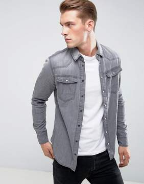 Blend of America Gray Denim Western Shirt
