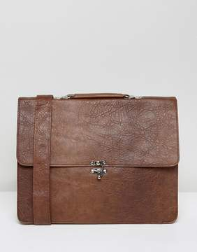 Asos Satchel In Brown Faux Leather With Clasp Fastening