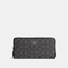 COACH Coach Accordion Zip Wallet - SILVER/BLACK SMOKE/BLACK - STYLE