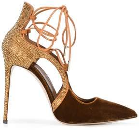 Le Silla lace up velvet pumps
