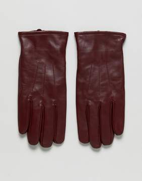 Asos Leather Gloves In Burgundy