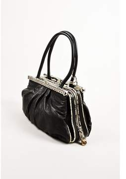 Christian Louboutin Pre-owned Black Beige Leather Python Trim Chain kathena Bag.