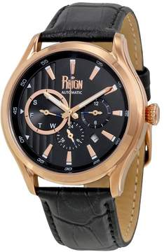 Reign Gustaf Multi-Function Black Dial Black Leather Strap Men's Watch